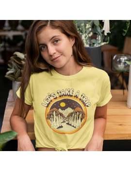 70s Tee  70s Shirt   70s Tshirt   70s T Shirt   Mushroom Shirt   Psychedelic Shirt   Vintage Tee   Vintage T Shirt   Womens Yellow Shirt by Etsy