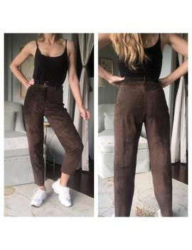 Vintage 80s High Waisted Brown Suede Pants 1980s Mom Jeans | Small by Etsy