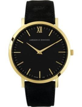 Lader Black Gold Plated And Leather Watch by Larsson & Jennings