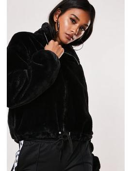 Petite Black Cropped Faux Fur Bomber Jacket by Missguided