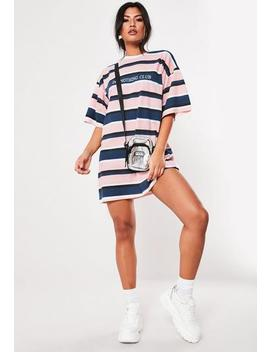 Pink Stripe Oversized Slogan T Shirt Dress by Missguided