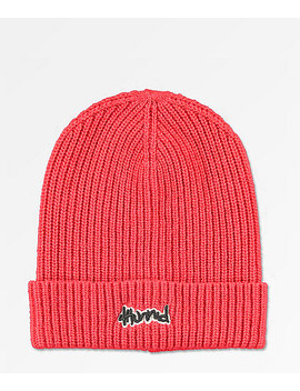 4 Hunnid Slouch Red Beanie by 4 Hunnid