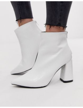 Pretty Little Thing Pointed Heeled Ankle Boots In White Croc by Pretty Little Thing