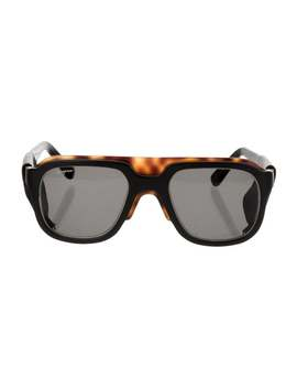 Leather Trimmed Square Sunglasses by Salvatore Ferragamo