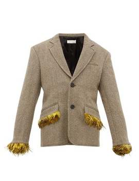 Feather Trimmed Single Breasted Herringbone Jacket by Wales Bonner