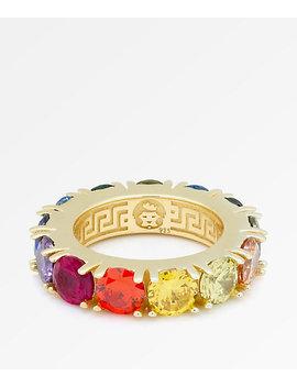 King Ice Single Row Rainbow Gold Ring by King Ice