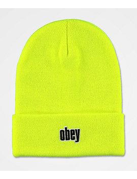 Obey Highlander Safety Green Beanie by Obey