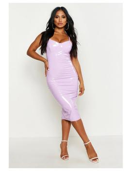 Strappy Cupped Vinyl Midi Dress by Boohoo