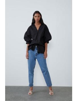 Camisa Comprida Popelina Ver Tudo Camisas E Blusas Mulher by Zara