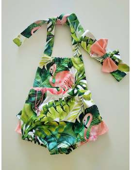 Summer Girl Dress Baby Romper Flamingo Girl Outfit Flamingo Birthday Outfit by Etsy