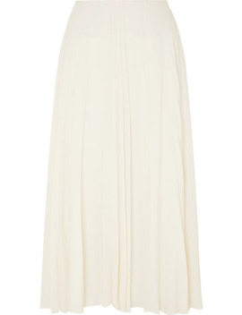 Pleated Silk Georgette Midi Skirt by Valentino