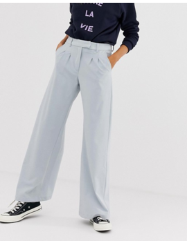 Jdy Tailored Wideleg Pants In Blue by Jdy