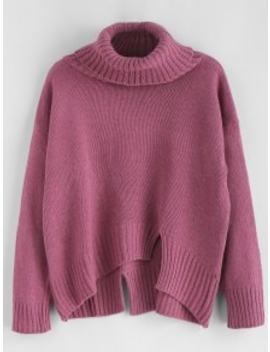Sale Split Hem Turtleneck Boxy Sweater   Plum by Zaful