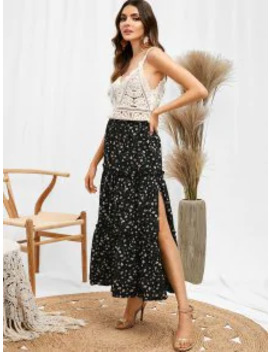 Salezaful Ruffles Tiny Floral Midi Skirt   Black S by Zaful