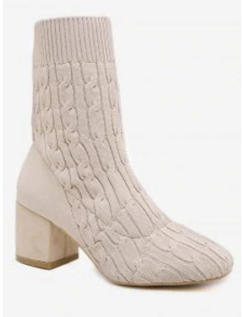 Cable Knit Chunky Heel Short Boots   Warm White Eu 39 by Zaful