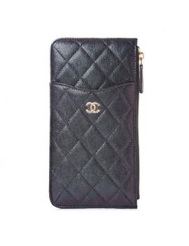 Chanel Iridescent Caviar Quilted Classic I Phone Pouch Black by Chanel