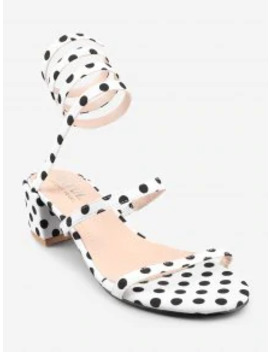 Sale Chunky Heel Retro Polka Dot Tie Leg Sandals   White 39 by Zaful