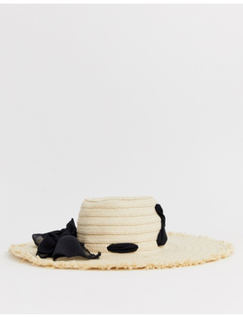 French Connection Straw Wide Brimmed Boater Hat by French Connection