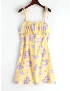 Sale Tied Straps Floral Cami Mini Dress   Yellow M by Zaful