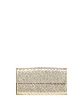 Intrecciato Metallic Continental Wallet by Bottega Veneta