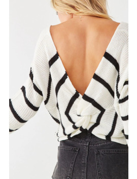 Striped Twist Back Sweater by Forever 21