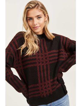 Plaid Semi Mock Neck Sweater by Ardene