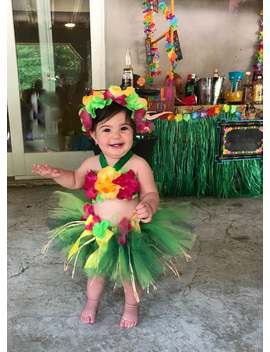 Birthday Luau Outfit   Baby Girl 1st Birthday Outfit   Children's Luau Dress   Luau First Birthday   Flower Crown by Etsy