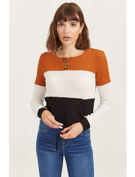 Color Block Waffle Knit Sweater by Ardene