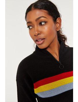 Zip Mock Neck Stripe Sweater by Ardene