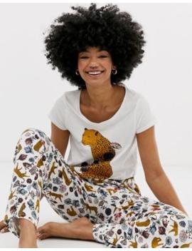 Monki– LeopardmönstratBlommigt Pyjamasset by Monki