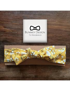 Mustard Yellow Floral Fabric Tie Headband by Etsy