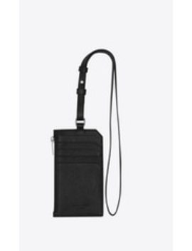 Sac De Jour Souple Card Case With Strap In Grained Leather by Saint Laurent