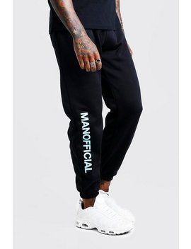 Man Official Neon Print Regular Joggers by Boohoo