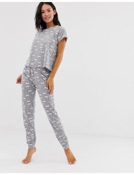 Loungeable – Grå Pyjamas Med Svanar by Loungeable
