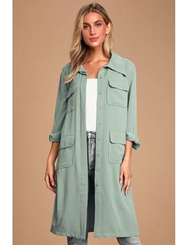 Franki Light Blue Button Down Trench Coat by Lulus