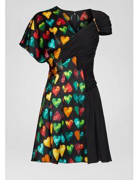 Love Versace Print Draped Dress by Versace