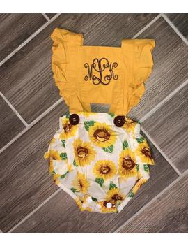 Sunflower Romper,  Monogram Romper, Baby Girl Romper by Etsy