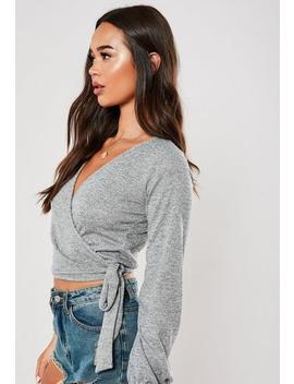 Grey Jersey Wrap Front Tie Side Top by Missguided