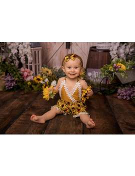 Sunflower Romper  Sitter Outfit, Sunflower Theme Photo Prop by Etsy