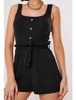 Black Rib Button Front Paperbag Playsuit by Missguided