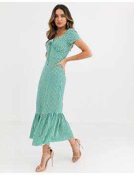 Asos Design Puff Sleeve Gingham Maxi Dress by Asos Design