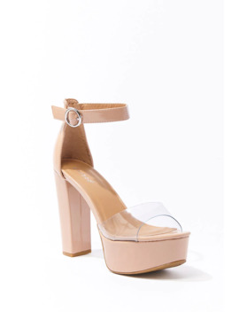 Faux Patent Leather Block Heels by Forever 21