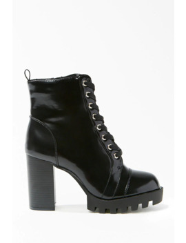 Lace Up Block Heel Combat Boots by Forever 21