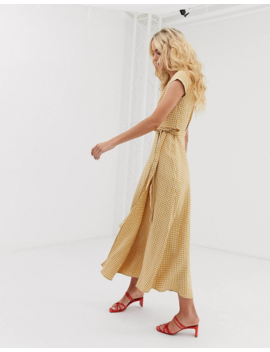 &Amp; Other Stories Linen Midi Wrap Dress In Yellow Gingham by & Other Stories