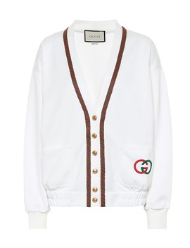 Embroidered Cotton Blend Cardigan by Gucci