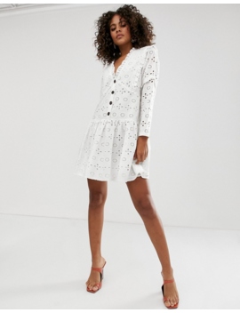 Asos Design Tall Broderie Button Through Tiered Smock Mini Dress by Asos Design