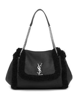 Nolita Medium Shearling Shoulder Bag by Saint Laurent