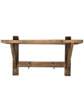 Natural Wood Wall Shelf With Metal Hooks by Hobby Lobby