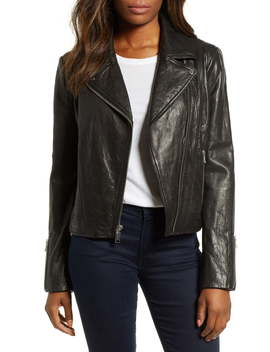 Washed Nappa Leather Moto Jacket by Andrew Marc