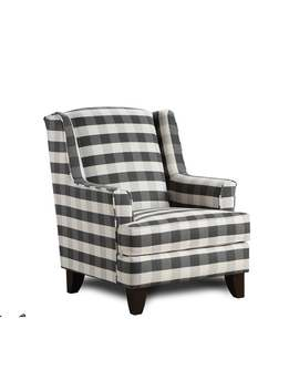 Brock Charcoal Black/White Block Plaid Accent Chair by Generic
